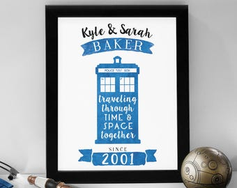 Custom Doctor Who Print // 8x10 TARDIS Art for Couples, with Personalized Names & Wedding Year // Wall Art Prints