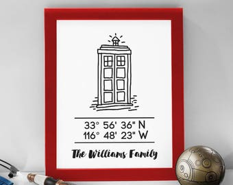 Custom TARDIS Coordinates Print // 8x10 Personalized DOCTOR WHO // City, Home Coordindates Wall Art Prints