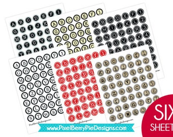 SET of 6 Typewriter Key Printable Sheets 1 inch Bottle Cap Circle Collage Sheets Six vintage-style alphabet buttons GREAT DEAL!