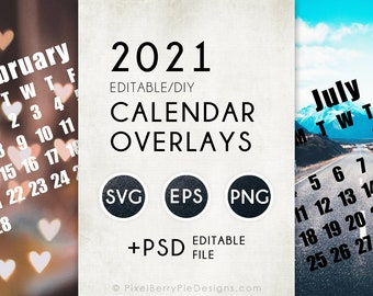 2021 Vector Calendar Templates, Monthly Overlays (Svg, Eps, Png, +Photoshop Psd files)