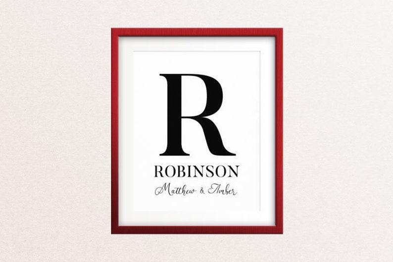 Custom MONOGRAM  LAST NAME Prints 4 styles // 8x10 Wedding image 0