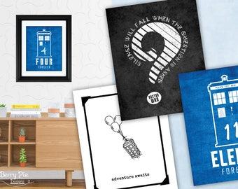 Doctor Who Prints (16 designs) // 8x10 Print Poster, Geek Wedding Artwork & Birthday, Anniversary Gifts // 8x10 Wall Art