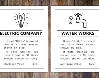 Monopoly Utilities Property Card, 8x10 Art Print // Water & Electric Artwork // Game room wall art // Family board game print