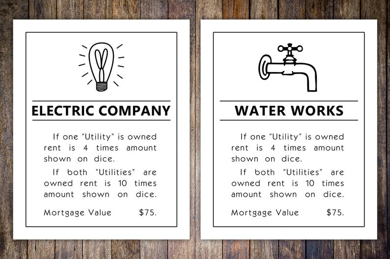 image relating to Printable Monopoly Property Cards called Monopoly Utilities Residence Card, 8x10 Artwork Print // Drinking water Electrical Art // Sport area wall artwork // Household board activity print