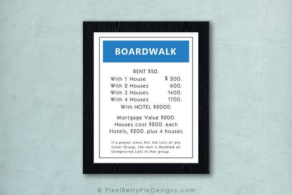 image about Monopoly Property Cards Printable known as Authentic Monopoly Residence Card Artwork Print 8x10 // Activity space wall artwork // Household board activity print // Monopoly Artwork