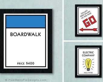 DIGITAL DOWNLOAD Original Monopoly Board Game Space - Printable Artwork File // Game room wall art // Board game printables
