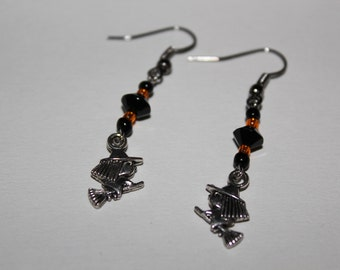 Halloween witch earrings brewing up a storm October phat fiber
