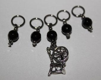 Spinning wheel stitch marker rustic spinningwheel charm set of 5