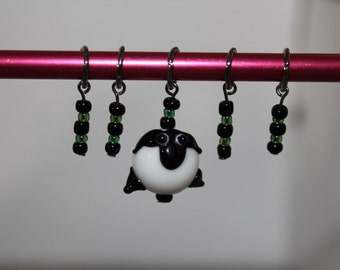 March phat fiber Green themed sheep knit stitch marker set of 5 sheep charm
