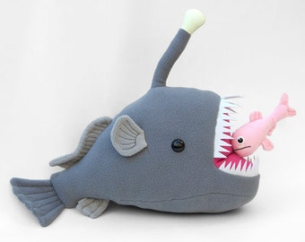 Mariana the Anglerfish and Chummy the Lanternfish Glow in the Dark Stuffed Animal Plush Toy