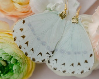 SKY MORPHO Butterfly Earrings, Sapphire, Pearl Earrings, Gold Earrings, Dangle Earrings, Wing Earrings, Butterflies, Garden Wedding, Nature