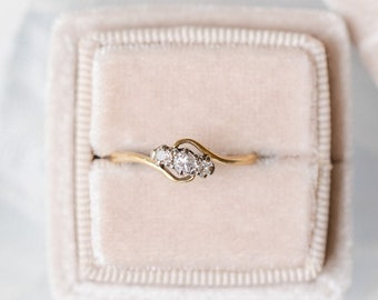 Trilogy Diamond Engagement Ring in 18ct Gold and Platinum, c.1900 England, Vintage Engagement, Antique Engagement, Bypass Engagement, EMILIA