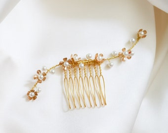 Flower and Pearl Comb, Pearl Hairpin, Flower Hairpin, Bridal Hairpin, Flower Comb, Flower Hairclip, Pearl Hairclip, Pearl Vine, JULIETTE