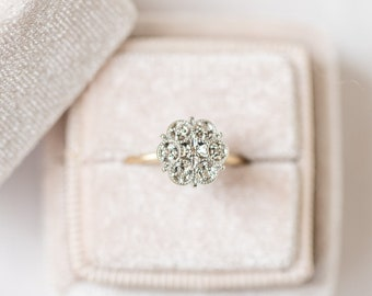 Edwardian Diamond Scalloped Flower Engagement Ring c.1920s in 10k Yellow and White Gold, Vintage Engagement, Diamond Engagement, FLORA
