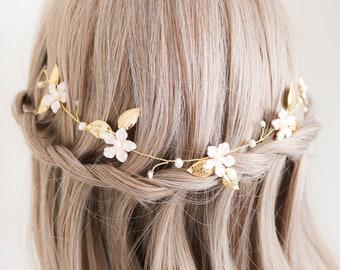 Floral Hairvine, Pearl Hairvine, Leaf Hairvine, Flower Hairvine, Floral Hairpiece, Pearl Hairpiece, Leaf Hairpiece, Flower Hairpiece, Dainty