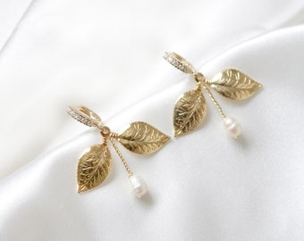 Leaf Bridal Earrings, Pearl Bridal Earrings, Fresh Water Pearl Earrings, Crystal Bridal Earrings, Drop Bridal Earrings, Hoop Earrings, PATIA