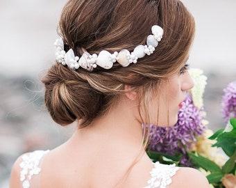 Shell and Pearl Crown, Seashell Crown, Seashell Hairpiece, Pearl Hairpiece, Seashell Headband, Pearl Headband, Mermaid Hairpiece, ADELLA