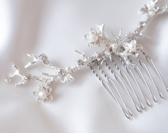 Branch Bridal Comb, Flower Comb, Pearl Comb, Crystal Comb, Branch Comb, Branch Hairpiece, Flower Hairpiece, Pearl Hairpiece, ANTHEA