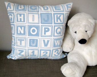 ABC Alphabet Cotton Cushion Cover in blue and linen