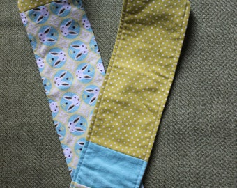 Organic Flannel Scarf with Pocket with Bunnies and Owls in Turquoise and Lime