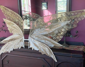 Kendall Jenner Gold Forest Fairy Costume Wings-Enchanted faery WINGS ONLY - Thalia design modified to include a lace 4th panel 5 feet width!