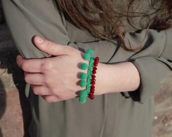 Pom pom bracelet - handmade faceted glass beads and pom pom trim bracelet