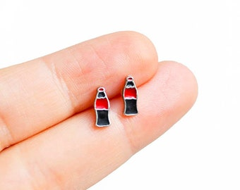 Bottle Earrings Cola Earrings Handmade Mix and Match Tiny Enamel Studs Kawaii Posts Hipster Soft Drink Trendy Miniature Posts, Gifts for Her