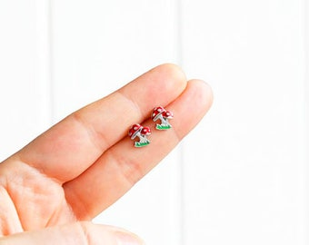 Mushrooms Earrings, Psychedelic Earrings, Handmade Mix and Match, Tiny Studs Kawaii Posts Hipster Trendy Miniature Posts, Gifts for Her