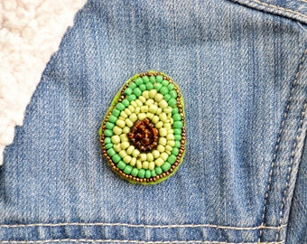 Avocado Brooch, Beaded Avocado, Handmade Brooch, Avocado Badge, Fruit Brooch, Mix and Match Kawaii Trendy Brooch Pin, Glass Seed Beads