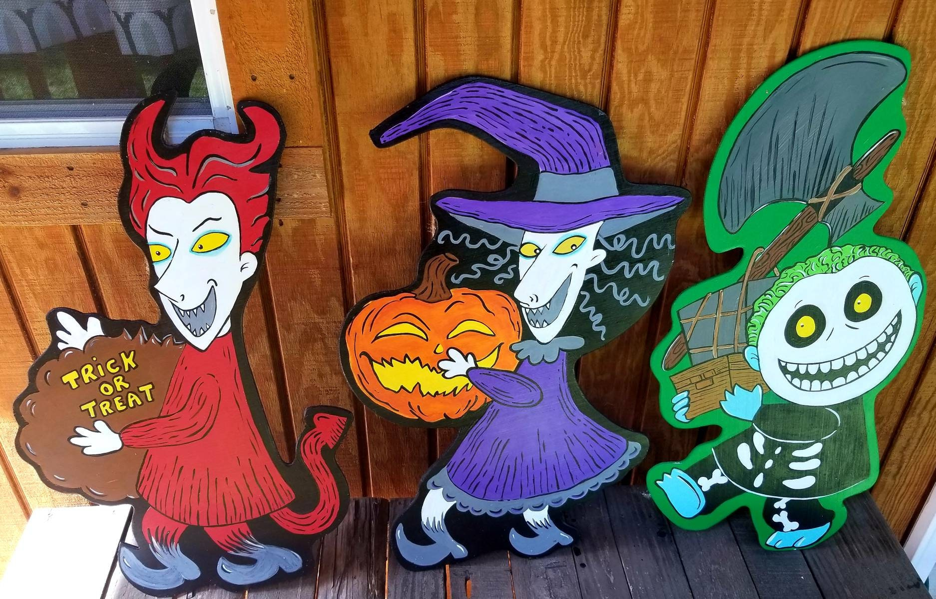 Trio of Trick or Treaters from Nightmare before Christmas yard | Etsy