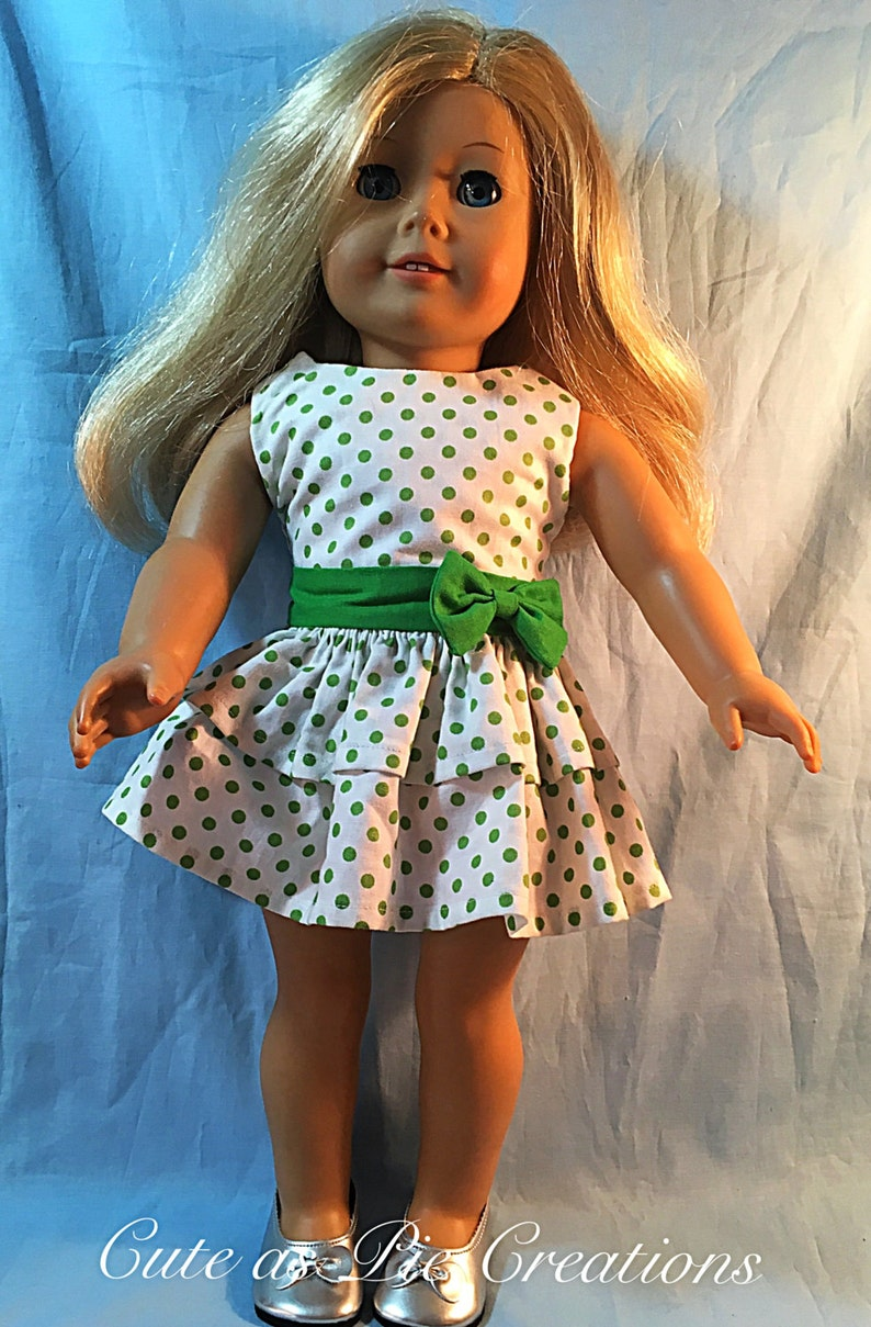 Handmade Doll clothes-fits Barbie Doll-Flannel Pajamas-Lt Green Dots
