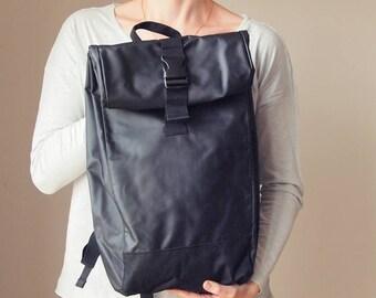 Black Backpack Waterproof Backpack Roll-up Backpack
