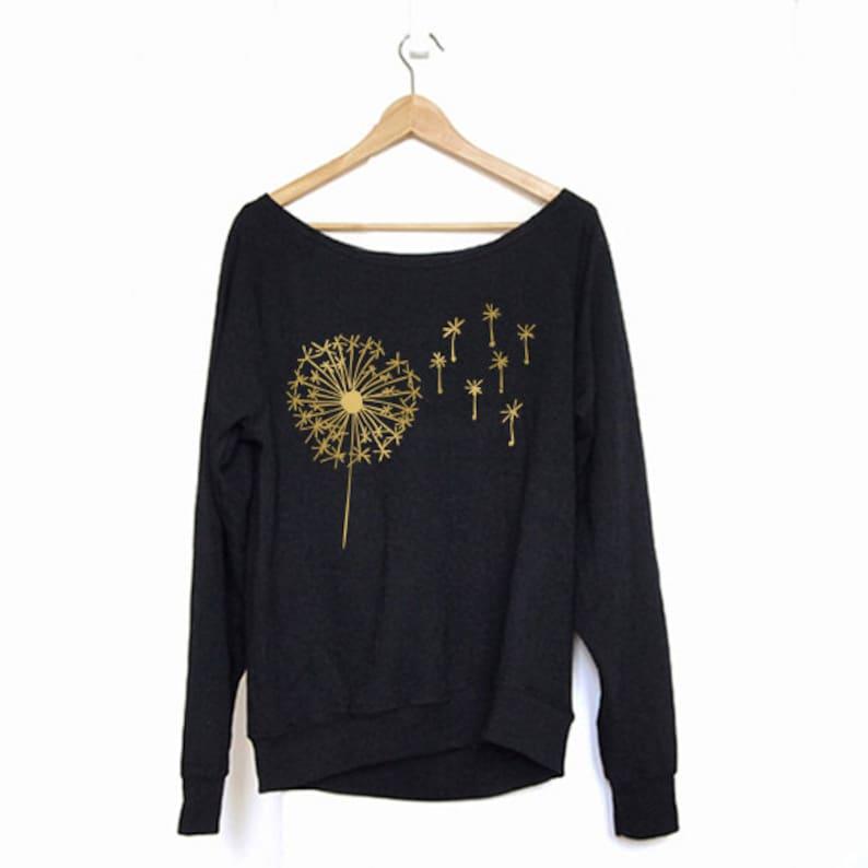 Off Shoulder Sweatshirt Gold Sweatshirt Dandelion Sweater Sweater Cozy Comfy Sweater Sweatshirt Sweatshirt Slouchy Sweatshirt Boho Sweater