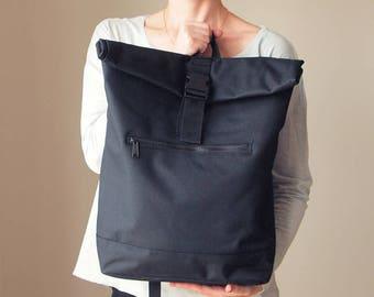 Laptop Backpack Pocket Laptop Case Black Backpack  Backpack Roll-up Backpack