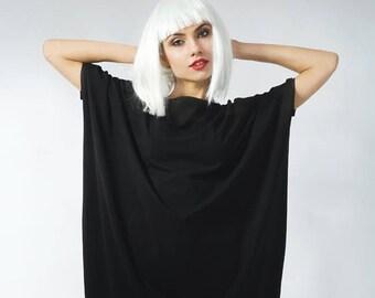 Loose Dress Slouchy Dress Summer Dress Onesize Dress Light Dress Assymmetric Dress Oversized Dress Cozy Comfy Dress Black Dress