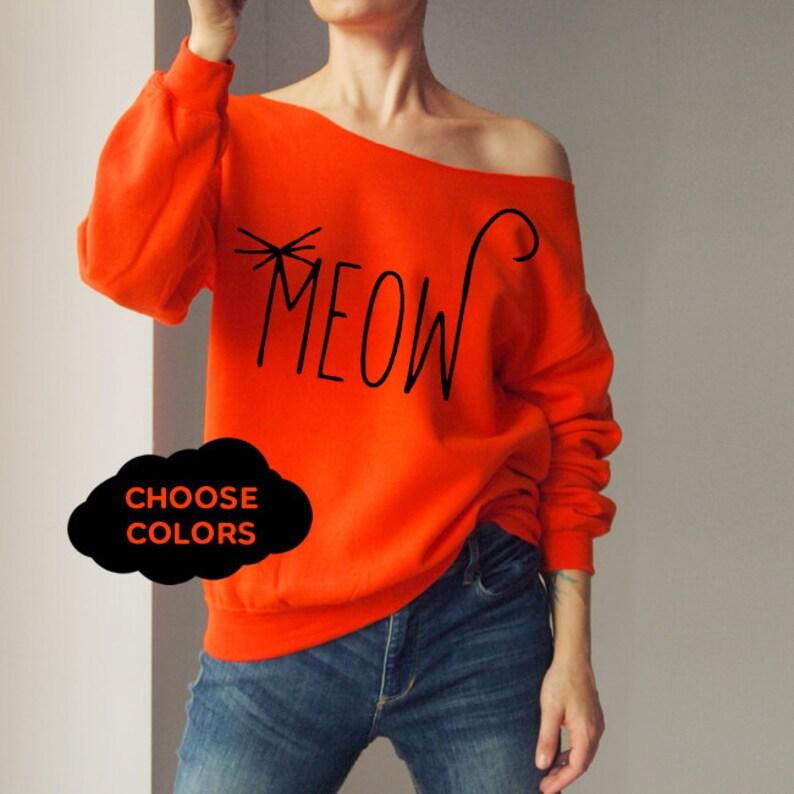 f46f83ade Cat Shirt Custom Off Shoulder Off Shoulder Sweater Cozy Comfy