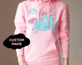Unicorn Hoodie Custom Unicorn Sweater Cozy Hoodie Sweater Unicorn Sweatshirt Unicorn Sweater Funny Unicorn Sweater Top  Sweatshirt Unicorn