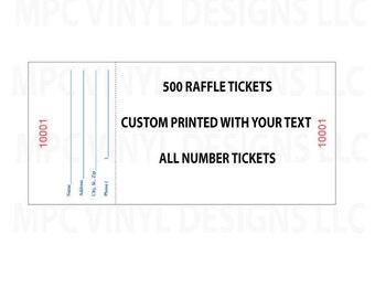 custom raffle ticket etsy