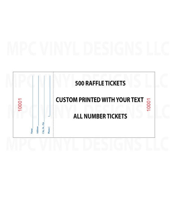250 custom printed numbered raffle tickets events fundraiser etsy