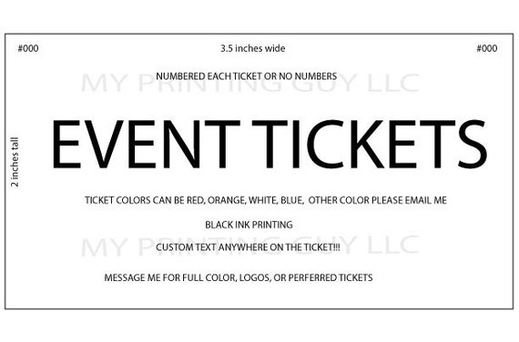 event tickets 100 white custom printed raffle tickets events etsy