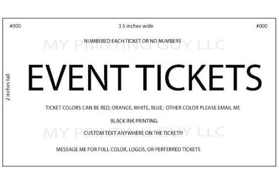 event tickets 500 white custom printed raffle tickets events etsy