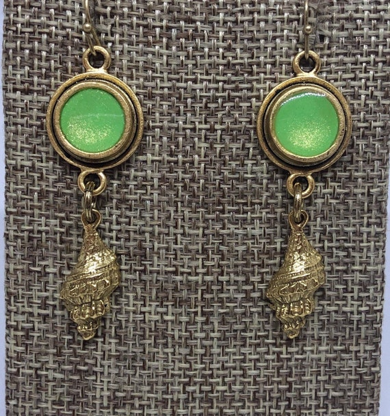 Bright Green Resin and Trumpet Shell Earrings