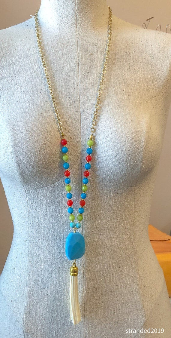 Quartz and Dyed Jade Tassel Necklace