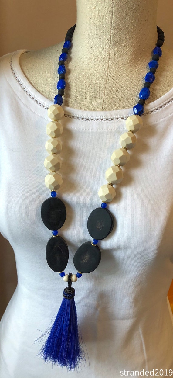 Black and Blue Wood and Lapis Tassel Necklace