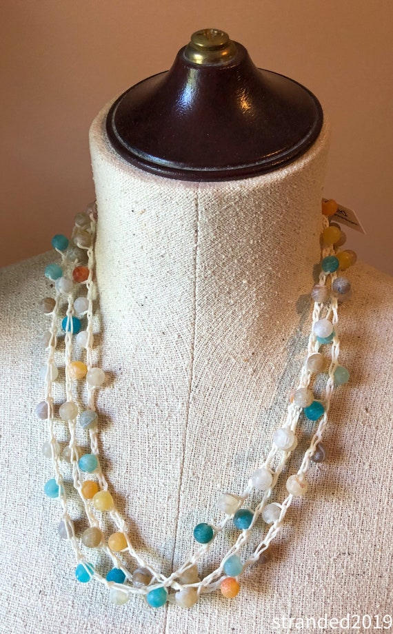 Long Crocheted Necklace with Multi-Colored Agate Beads