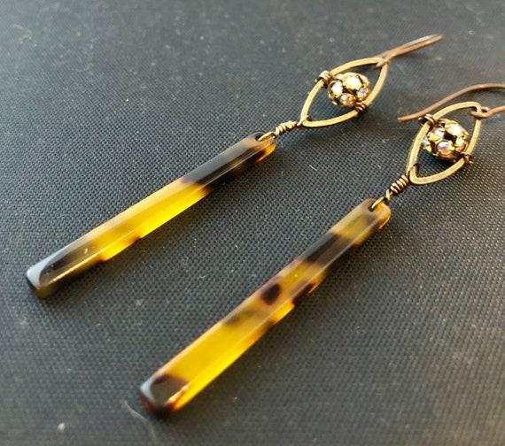 Tortoise Resin Stick Earrings