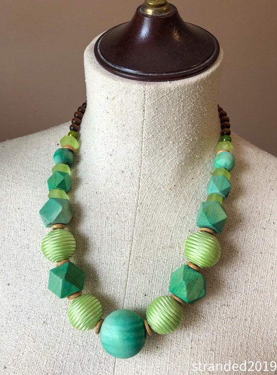 Chunky Green Wood Necklace