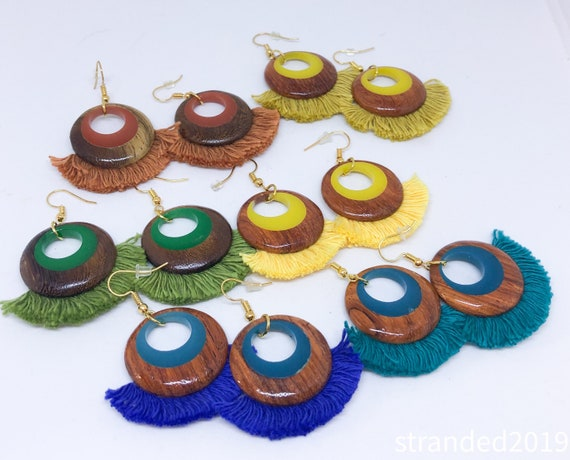 Wooden Hoop and Tassel Earrings