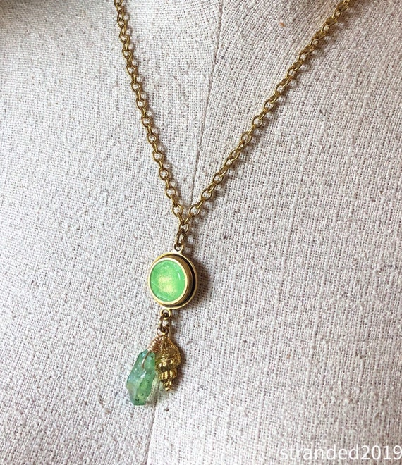 Bright Green Resin and Antique Gold Trumpet Shell Necklace