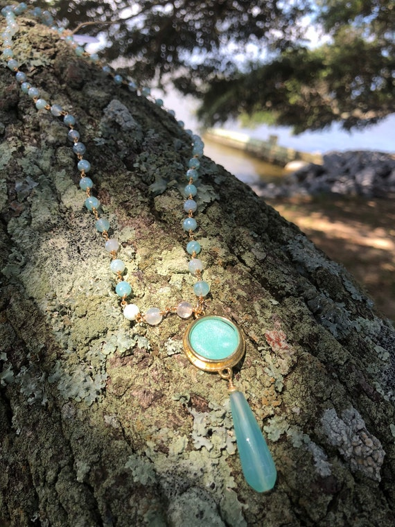 Opalescent Bezel, Calcedony, and Agate Pendant Necklace